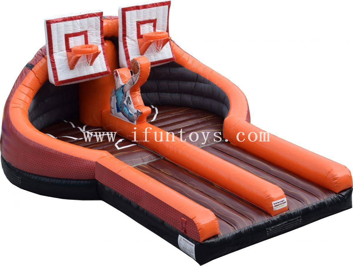 Outdoor Inflatable Basketball Slam Dunk Challenge Game/ Inflatable Dual Lane Slam Dunk Basketball Games for sport