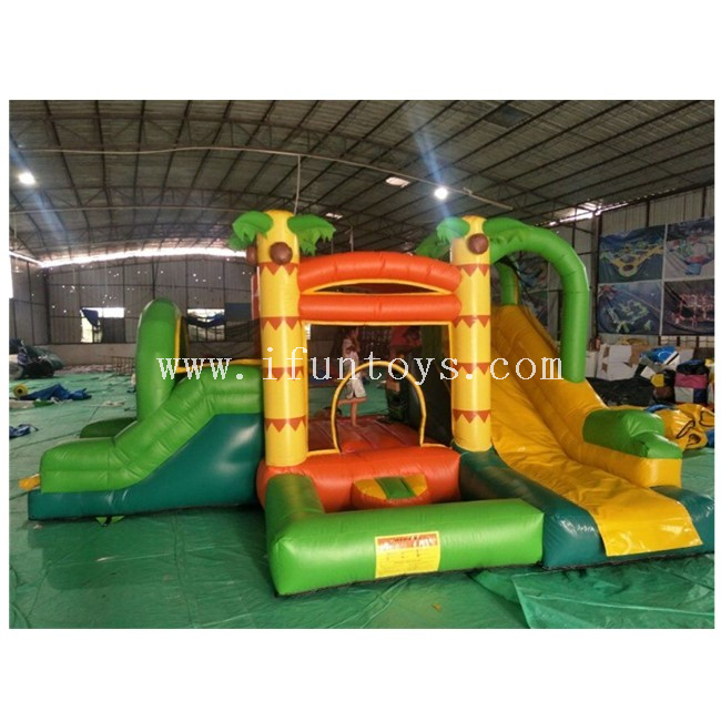 Tropical Jungle Inflatable Bouncy Slide / Palm Tree Inflatable Slide for Kids