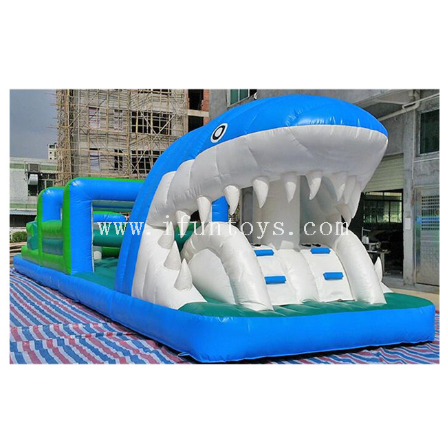 Outdoor Playground Inflatable Shark Obstacles Course/Inflatable Obstacle Running Race / Inflatable Obstacle Challenge Game for Kids