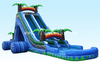 New design Tropical jungle 2 lane inflatable roaring river water slide with pool/inflatable wet slide for kids