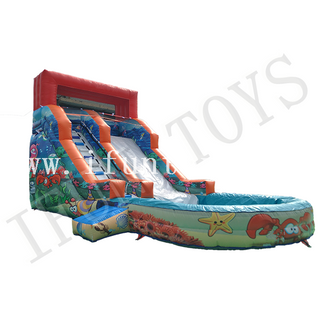 Ocean Theme Inflatable Water Slide with Pool / Slip Water Slide for Kids