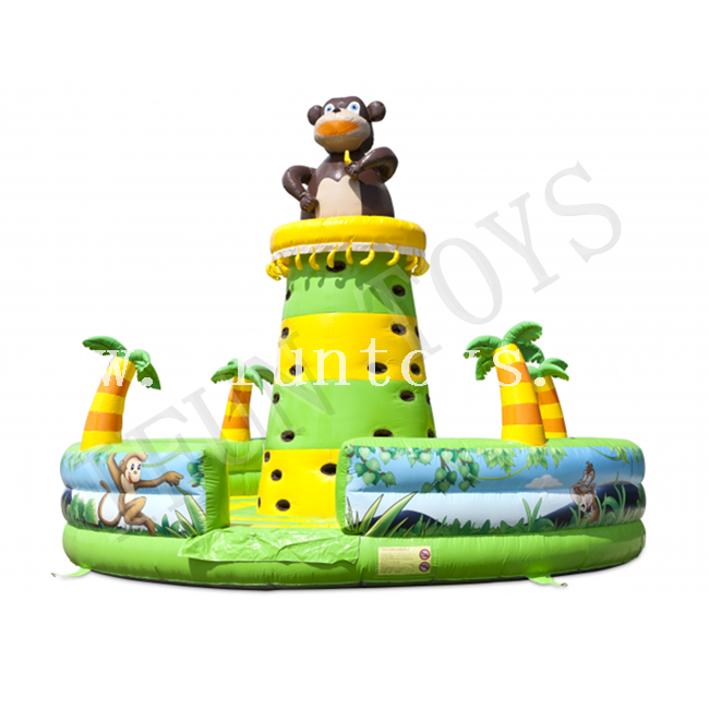 Jungle Theme Inflatable Monkey Climbing Tower Wall / Kids Playground Funcity for Sale