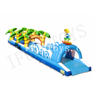 Beach Theme Inflatable Belly Slide / Slip N Slide with Swimming Pool / Summer Water Slide for Kids