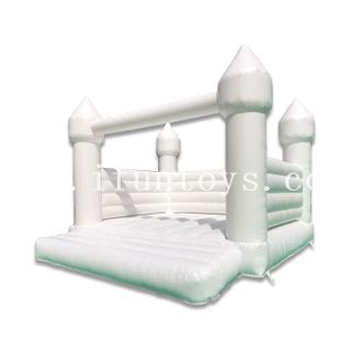 White Inflatable Jumper Wedding Bouncy Castle / Wedding Moonwalk with Air Blower