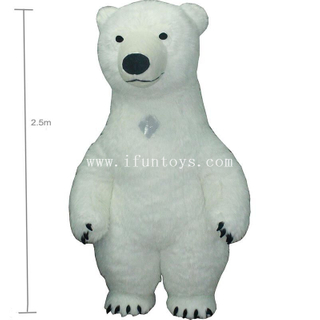 Customized Stage performance inflatable walking mascot polar bear costumes for city parade/inflatable activity plush polar bear