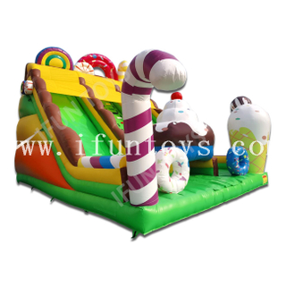 Sweet Candy Ice Cream Inflatable Slide / Trampoline Slide for Kids