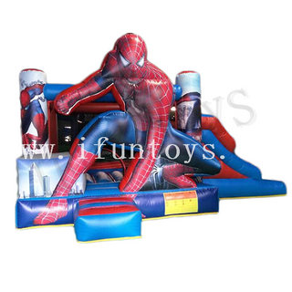 Kids Play Park Inflatable Spiderman Bouncy Castle with Slide / Spiderman Trampoline Jumping House