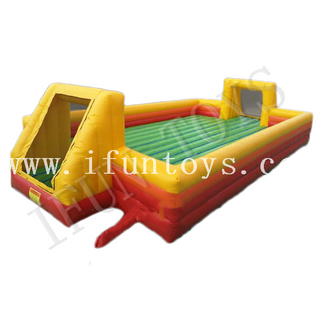 Foam Party Inflatable Soap Football Field / Soccer Field with Inflatable Bouncer Floor / Water Football Playground