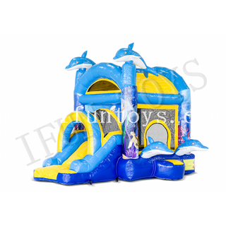 Inflatable Jumpy Extra Fun Dolphin Jumping Bouncy Castle with Slide for Kids