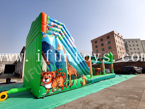 Safari Park Inflatable Playground / Inflatable Slide Obstacle Course / Interactive Obstacle Challenge