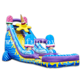 Ice Cream Inflatable Jumbo Water Slide with Pool / Ice Pops Slide for Summer Holiday