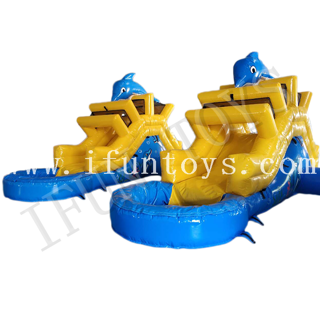 Backyard Inflatable Dolphin Water Slide with Pool for Family Use