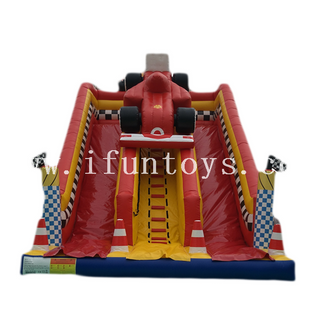 Car Speedway Inflatable Bouncy castle with Slide/inflatable dry slide/inflatable double lane slide for kids