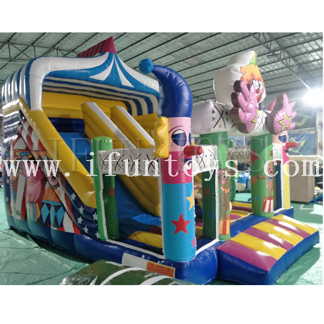 Lovely kids clown inflatable bouncy castle with slide/inflatable clown bouncer combo/Jumping Amusement Park Equipment