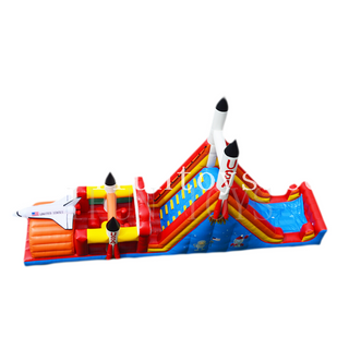 inflatable Jumping spaceship bouncer combo/ inflatable USA rocket bouncy castle with slide/inflatable obstacle castle for kids