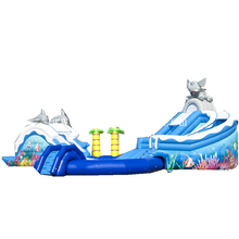 Commercial grade kids dolphin and elephant theme inflatable water park /inflatable water slide with pool for sale