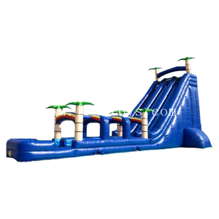 Cheap tiki island inflatable water slide inflatable slip N slide with palm tree for kids