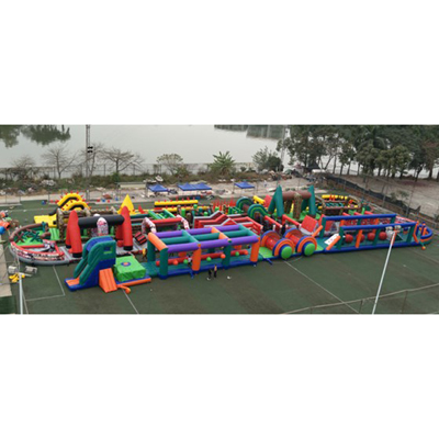 Outdoor test of the largest 272 meters long inflatable obstacle courses