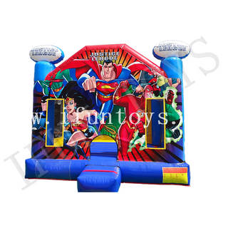 Justice League Theme Inflatable Jumping Trampoline House Bouncy Castle for Kids