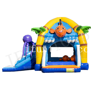 Inflatable Clownfish Bouncy Combo / Kids Inflatable Outdoor Playground Jumping Castle with Slide