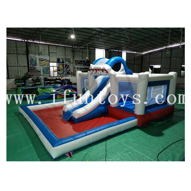 Inflatable Shark Water Slide with Swimming Pool / Inflatable Bouncy Castle with Water Slide