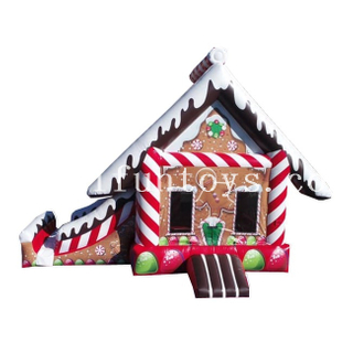 Inflatable Gingerbread Bouncy House Slide Combo / Christmas Jumping House