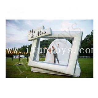 Inflatable Wedding Photo Frame White Wedding Jumping Bouncer Castle for Wedding