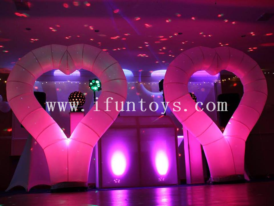 Inflatable heart shaped arch balloon for decoration /Inflatable led lighting heart for wedding &party &Valentine's Day