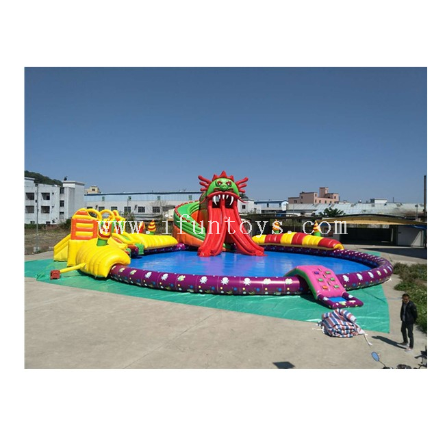 Giant Inflatable Water Park Playground with Big Swimming Pool for Hot Summer Amusement