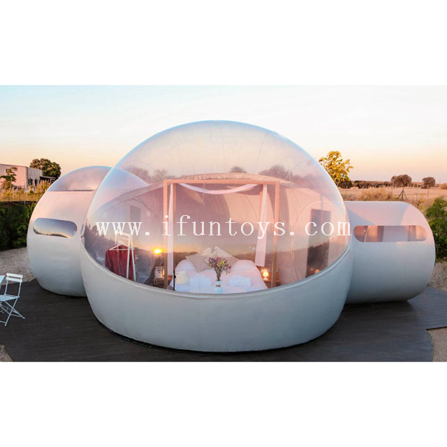 China cheap Inflatable night sky bubble dome / bubble hotel tent with bathroom