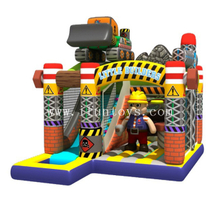 New inflatable little builder jumping moonwalk bounce castle with slide for toddlers