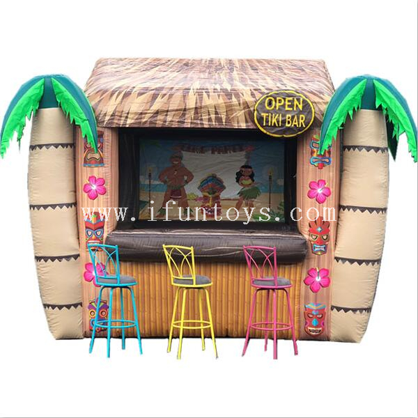 Beach Hawaii island inflatable open tiki bar/ tiki hut bar/ drink bar bounce house for party
