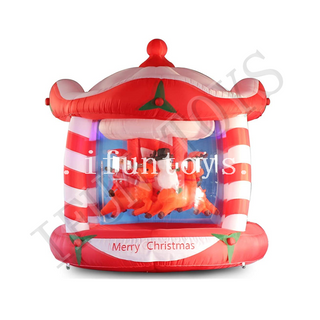 Inflatable Christmas Carousel / Go Around with Air Blower for Outdoor Yard Decoration