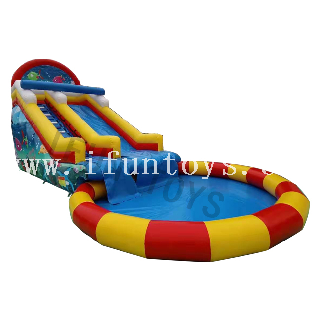 Inflatable Waterslide with Swimming Pool / Water Amusement Park Playground for Kids