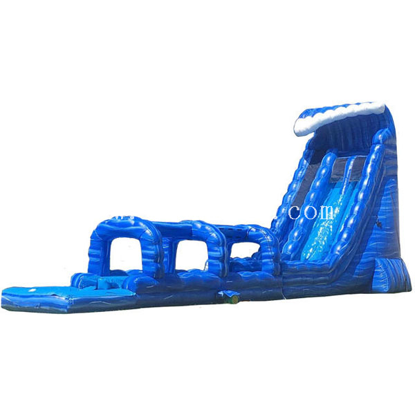 Giant duel lanes blue crush inflatable water slides splash slip N slide with pool for sale
