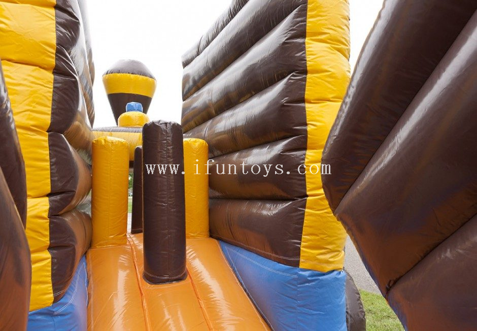 New design inflatable pirate theme train obstacle course for kids/inflatable bounce combo play tunnel for sale