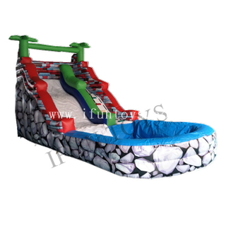 Tropical Palm Tree Inflatable Water Slide with Swimming Pool / Inflatable Slip N Slide