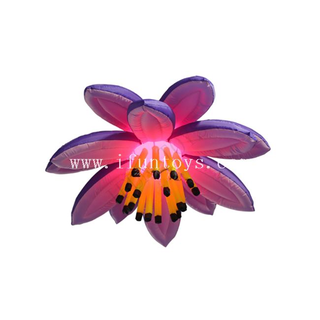 Purple Inflatable Hanging Flower with Led Light for Party Decoration