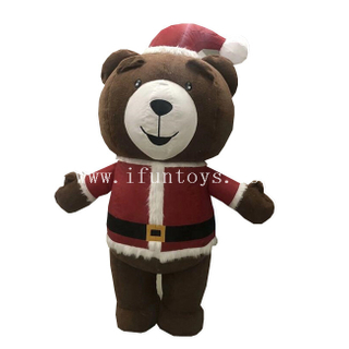 Cute Inflatable Christmas Bear / Activity Inflataable Teddy Bear / Inflatable Bear Costume for Christmas
