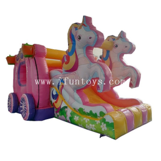 Inflatable Unicorn Combo / Pumpkin Car Inflatable Bouncy Castle Slide /Inflatable Air Moonwalk