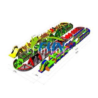 Outdoor rainforest 5K run large adults inflatable obstacle course/inflatable jumping obstacle /inflatable wipeout obstacle for sport game