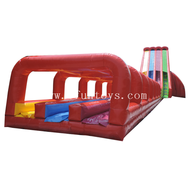Giant Inflatable Triple Water Slide / Inflatable Drop Out Slide / Inflatable Water Splash Slip N Slide