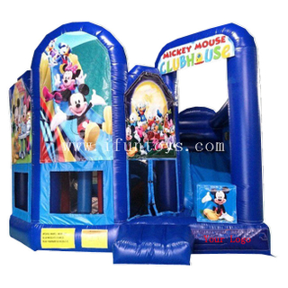 Disney Mickey Mouse Inflatable Clubhouse Bouncer / Party Theme Inflatable Bouncer Castle Combo for Kids
